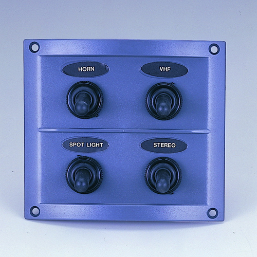 4 Gang Splashproof Switch Panel (Black Panel)