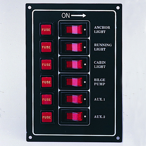 6 Gang Illuminated Switch Panel (Silver Panel)
