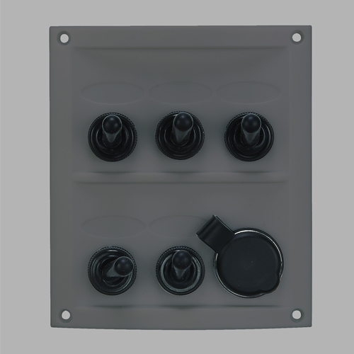 5 Gang Splashproof Switch Panel (Black Panel)