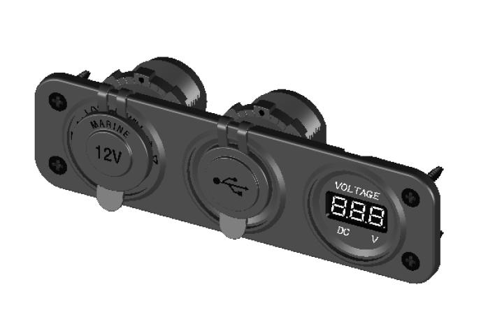 Marine Boat RV Digital Voltmeter Dual USB 2 Port 12VDC Power Socket 3-Hole Panel