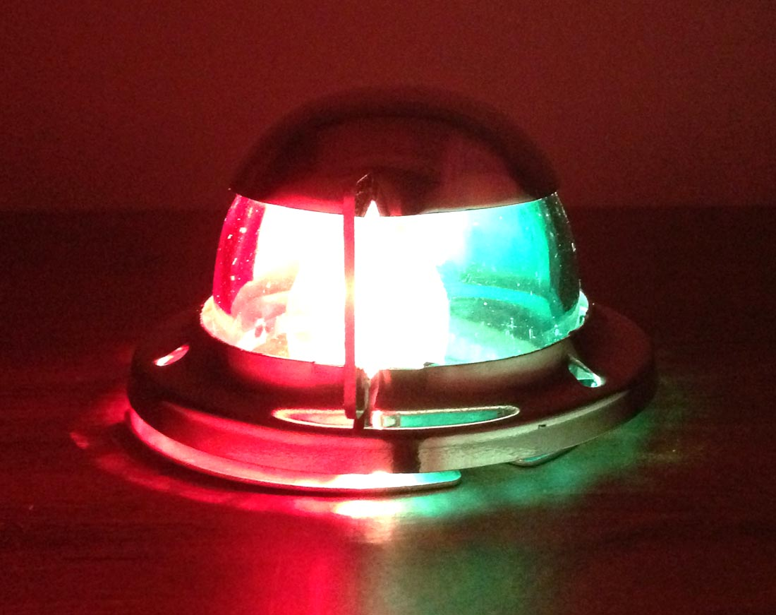 MARINE BOAT NAVIGATIONAL BOW LIGHT FESTOON RED AND GREEN STAINLE