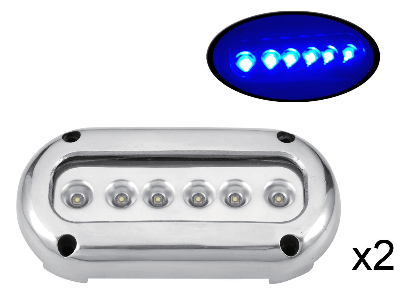 2PCS Blue LED Stainless Steel Underwater Light Surface Mount