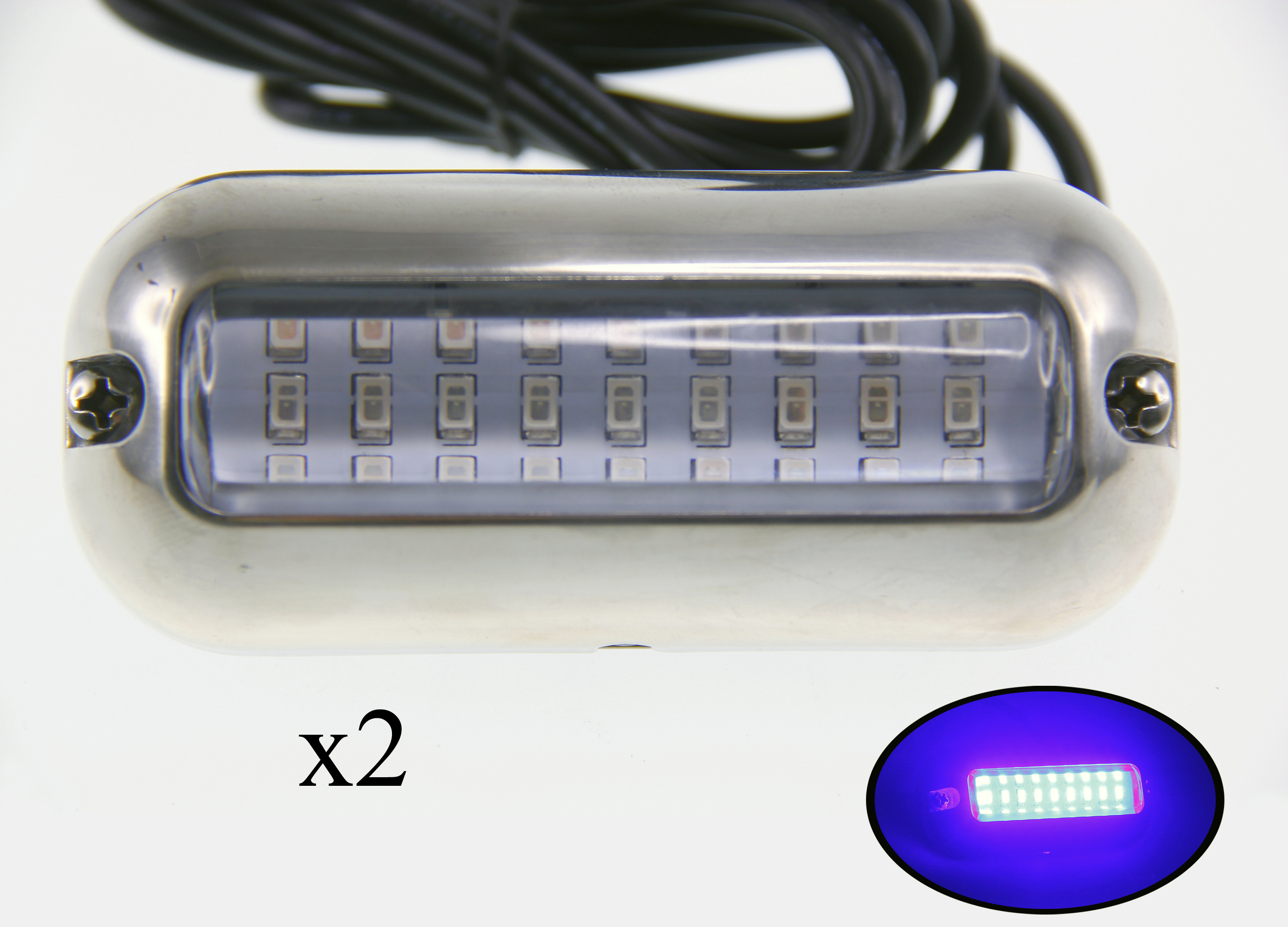 2PCS Pontoon Boat Blue LED Underwater Light S.S 316 Housing