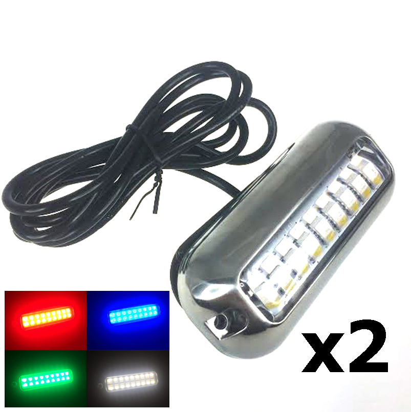 2PCS Boat Pontoon 18 RGBW LED Underwater Light SS 316 Trim Ring