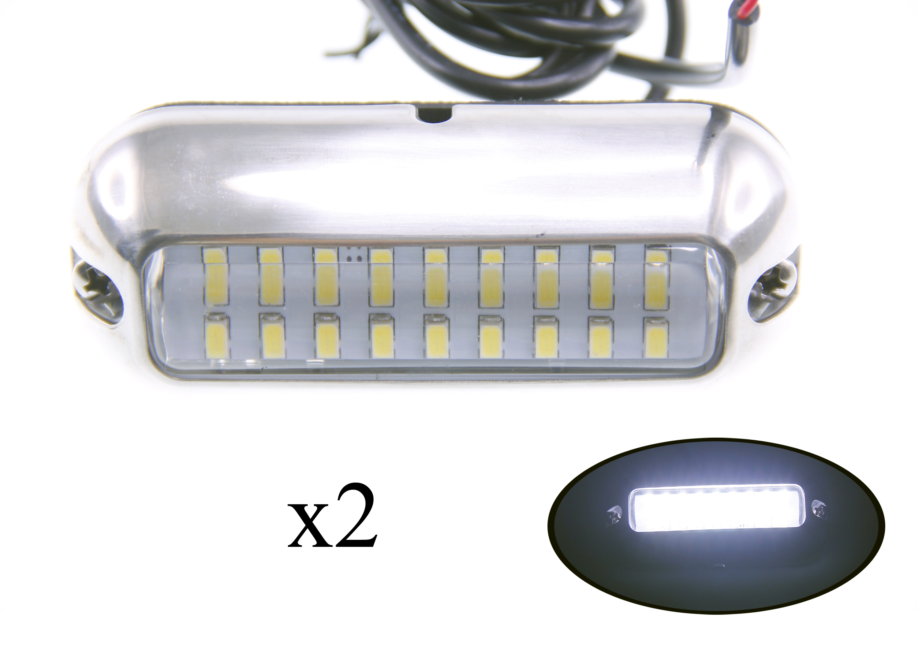2PCS Boat Pontoon Boat S.S.316 White LED Underwater Light