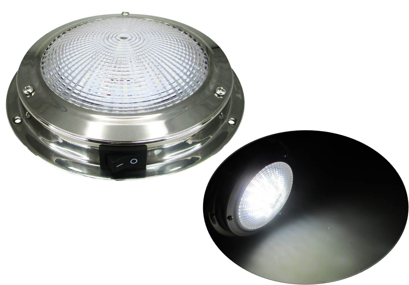 "PACTRADE MARINE RV CAR BUS BOAT CABIN//CEILING//DOME LIGHT SS 12 V 12 W 4/"" LENS"