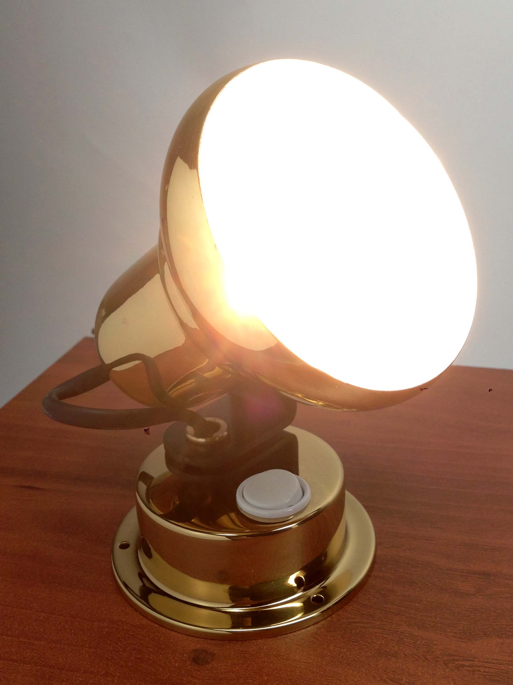 LACQUERED BRASS ACCENT INTERIOR LIGHT MARINE BOAT HALOGEN LIGHT