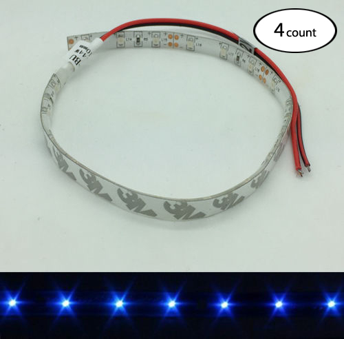 4 PCS 12V DC BLUE LED STRIP LIGHT ADHESIVE 3M BACKING