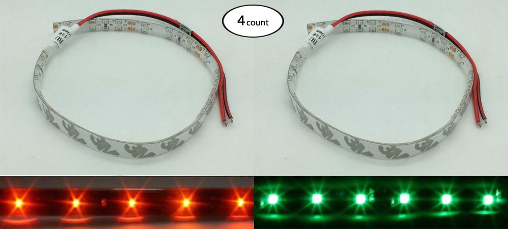 4Pair 12V DC Red Green LED Navigation Light Strip Waterproof