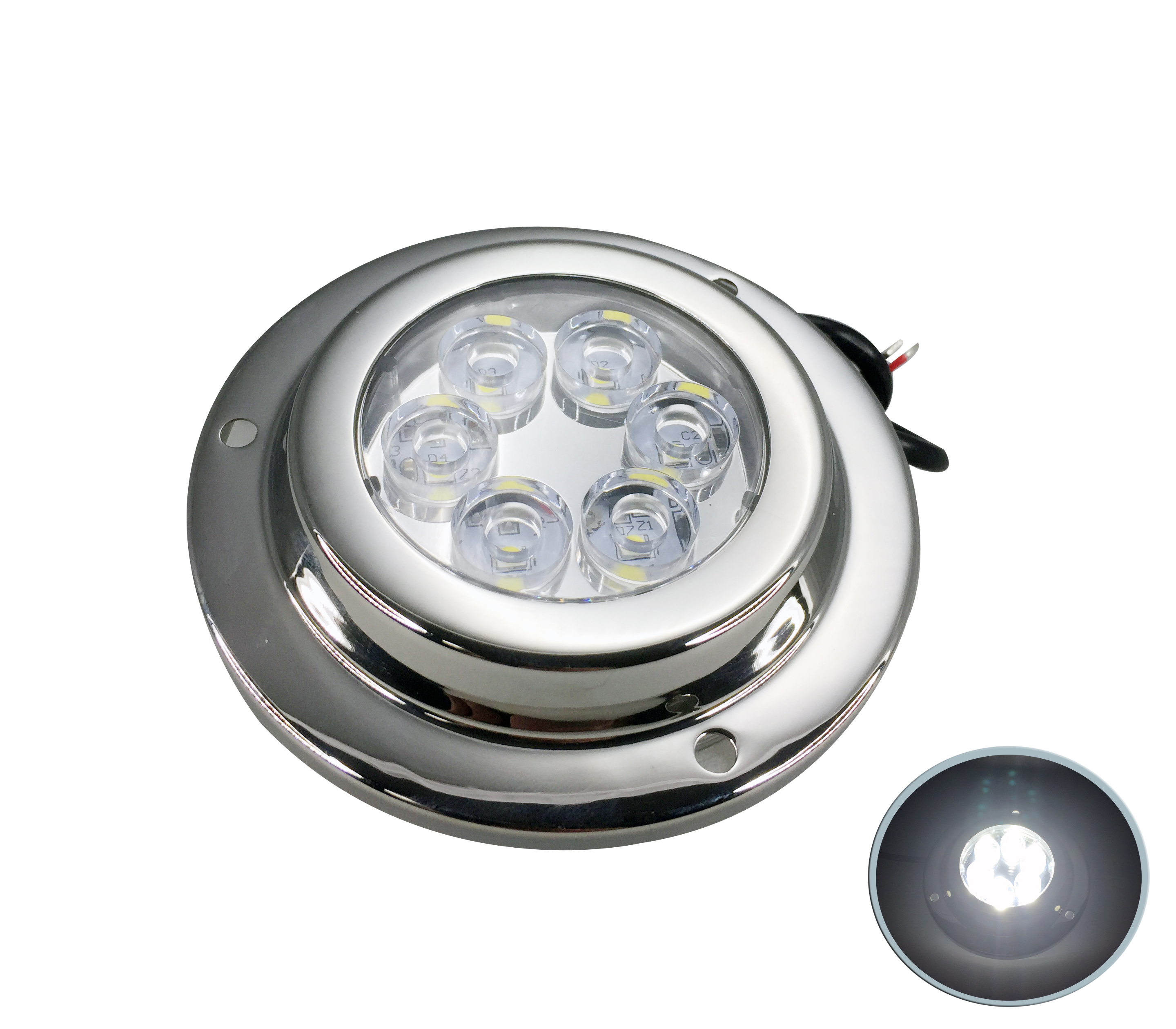 Boat SS316 LED White 6 x 2 W Underwater Light 10-30V IP 68