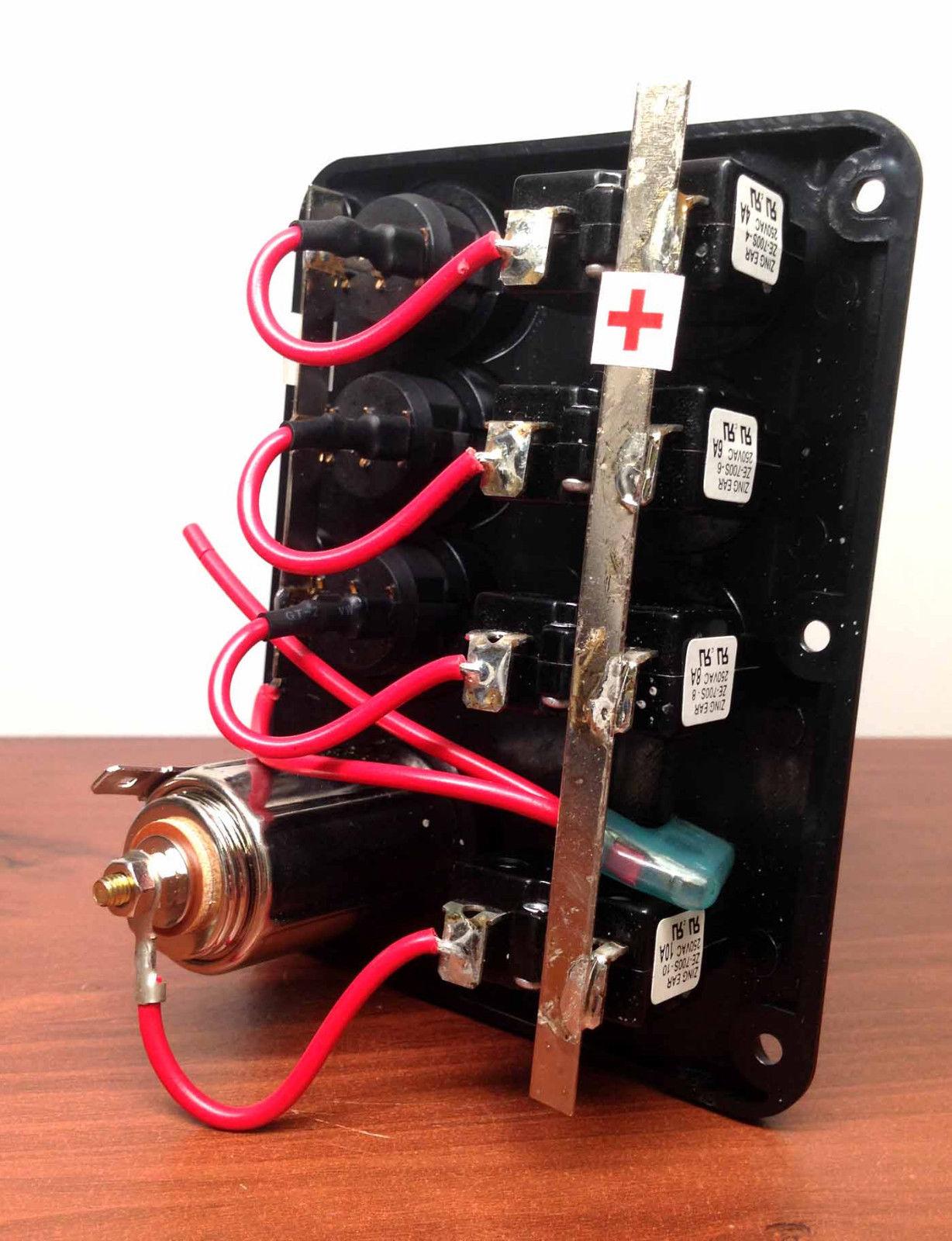 MARINE BOAT SPLASHPROOF 3 GANG SWITCH PANEL WITH SOCKET LED