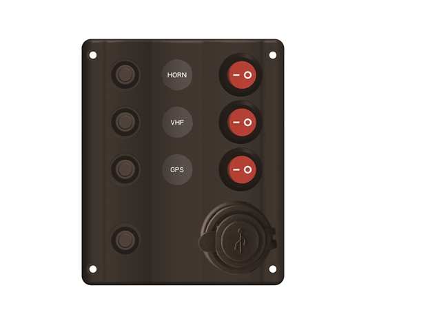 Black Plastic Switch Panel With USB Charger LED Indicator 5X4""