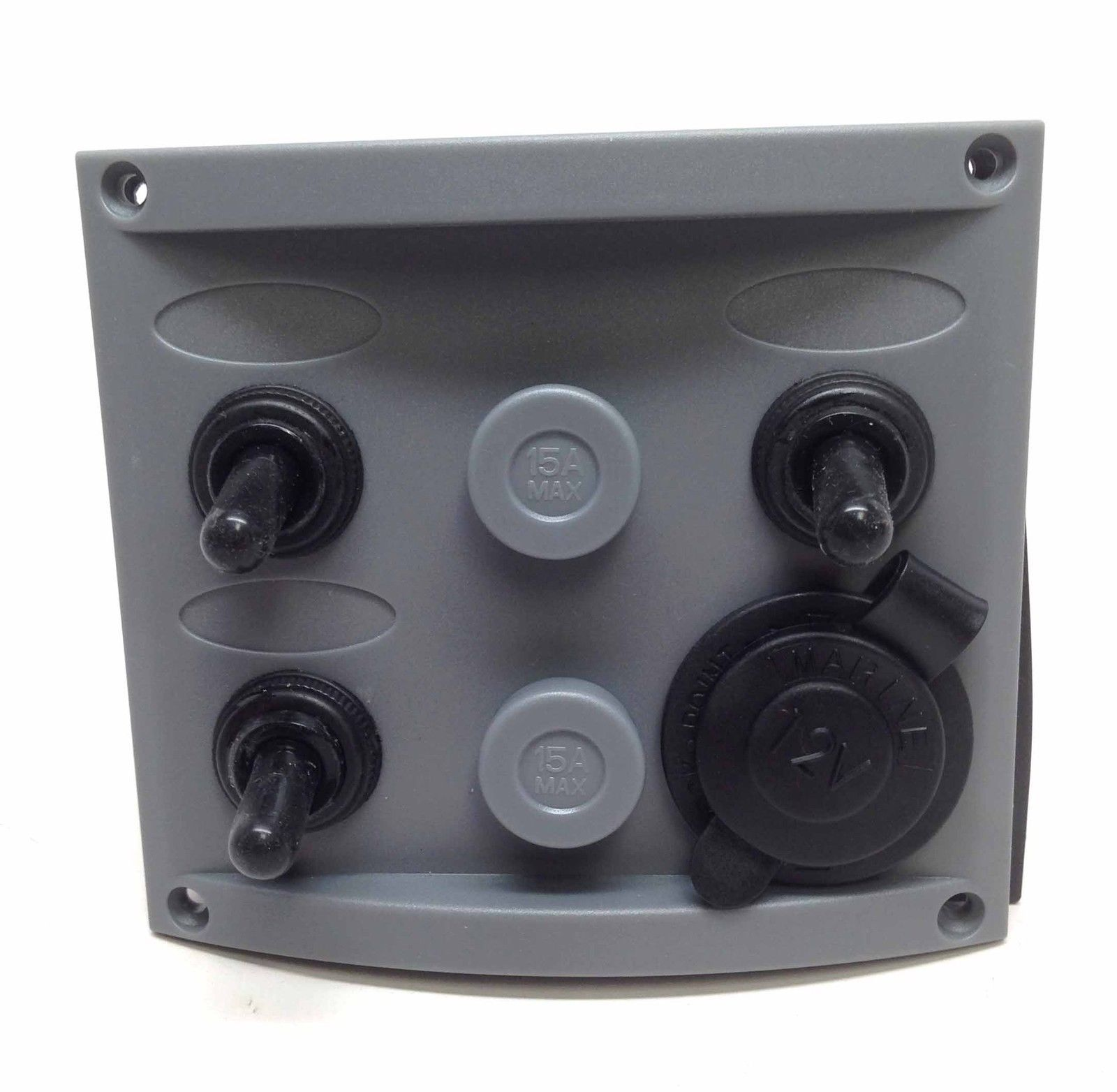 Marine Boat Grey Switch Panel Cigarette Plug 1 Momentary