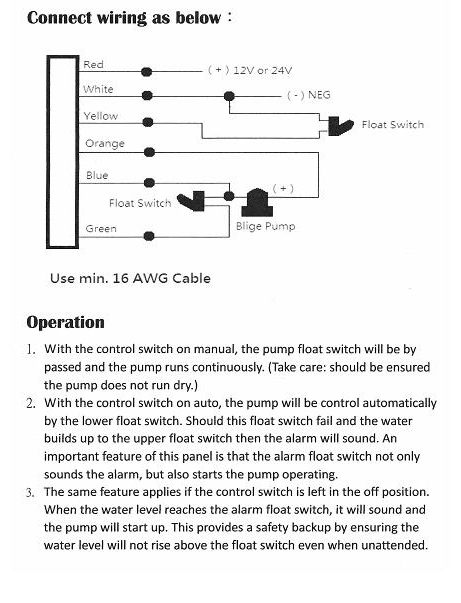 marine boat bilge alarm pump switch aluminum plate manual. Black Bedroom Furniture Sets. Home Design Ideas