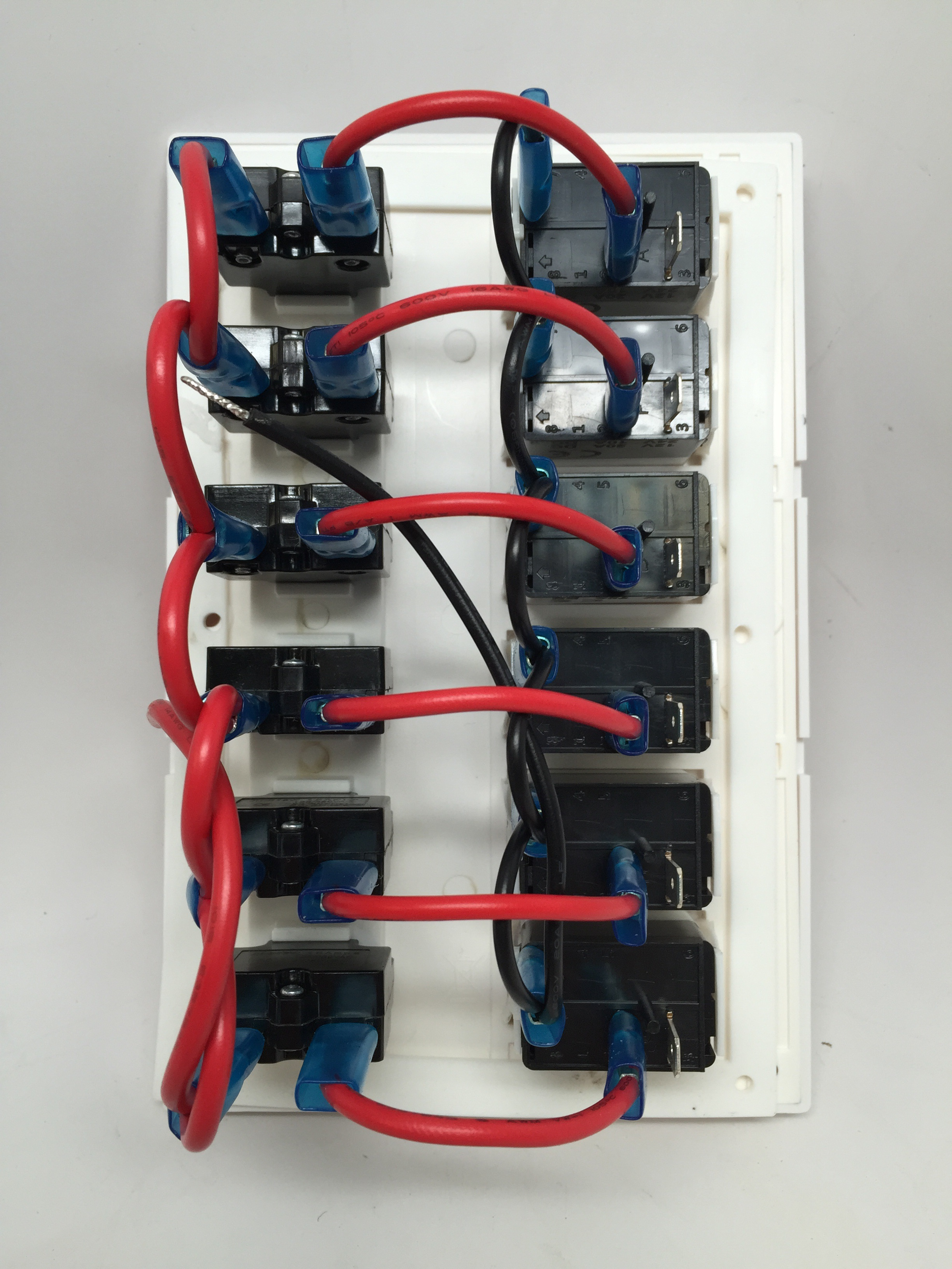 Marine Boat Waterproof White Switch Panel Circuit Breaker 6 Gang Blue Led Rocker Marine And Rv