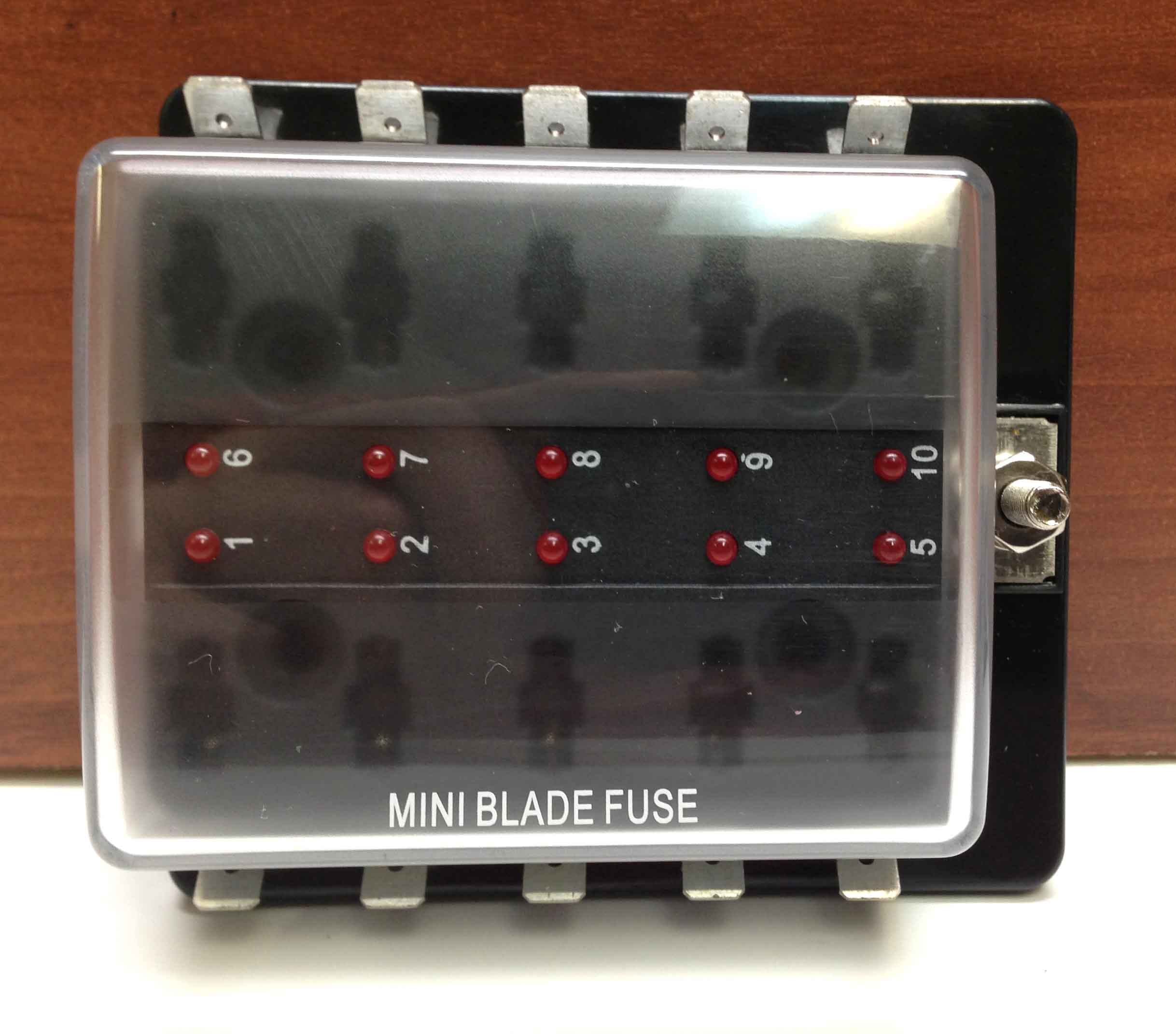MINI BLADE FUSE BLOCK HOLDER LED INDICATOR MARINE BOAT 10 GANG U