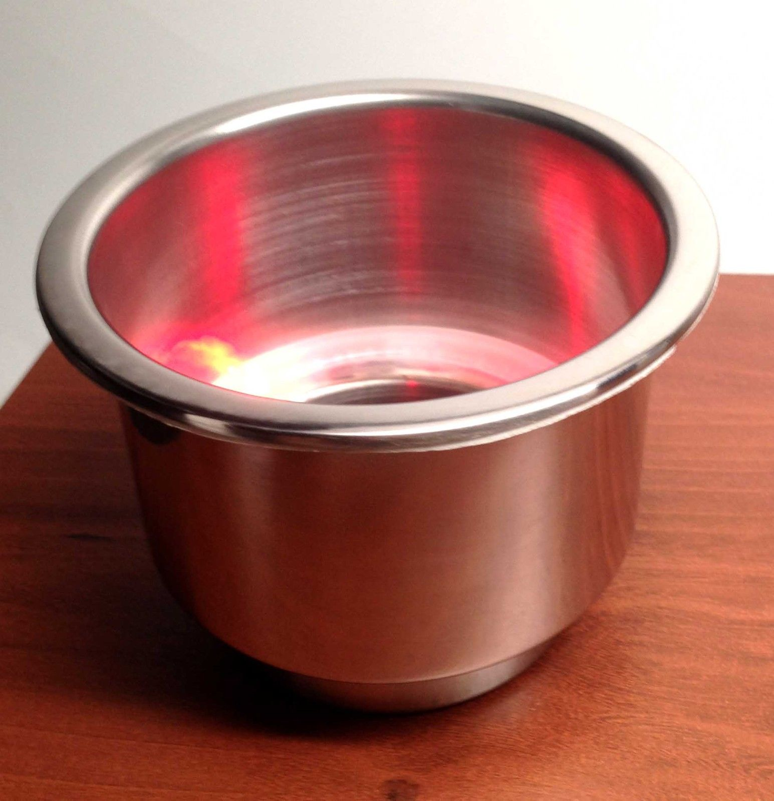 MARINE BOAT STAINLESS STEEL 304 LED RED CAN DRINK HOLDER RV CAMP