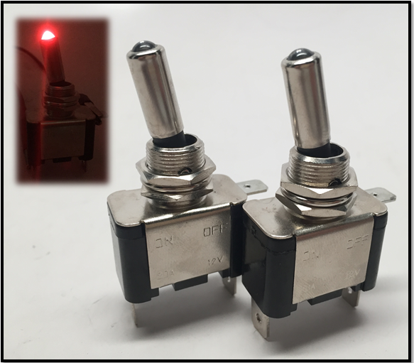 2pcs Red Dot LED Toggle Switch Control SPST On/Off