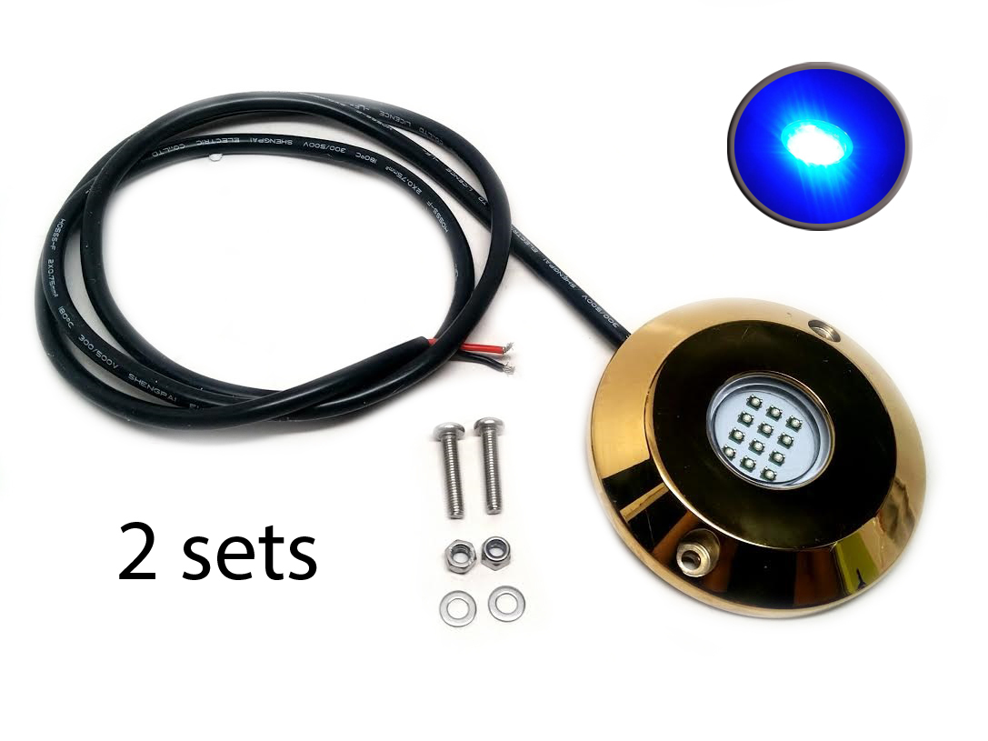 2SETS Blue Cree LED Underwater SS316 Gold Housing Surface Mount