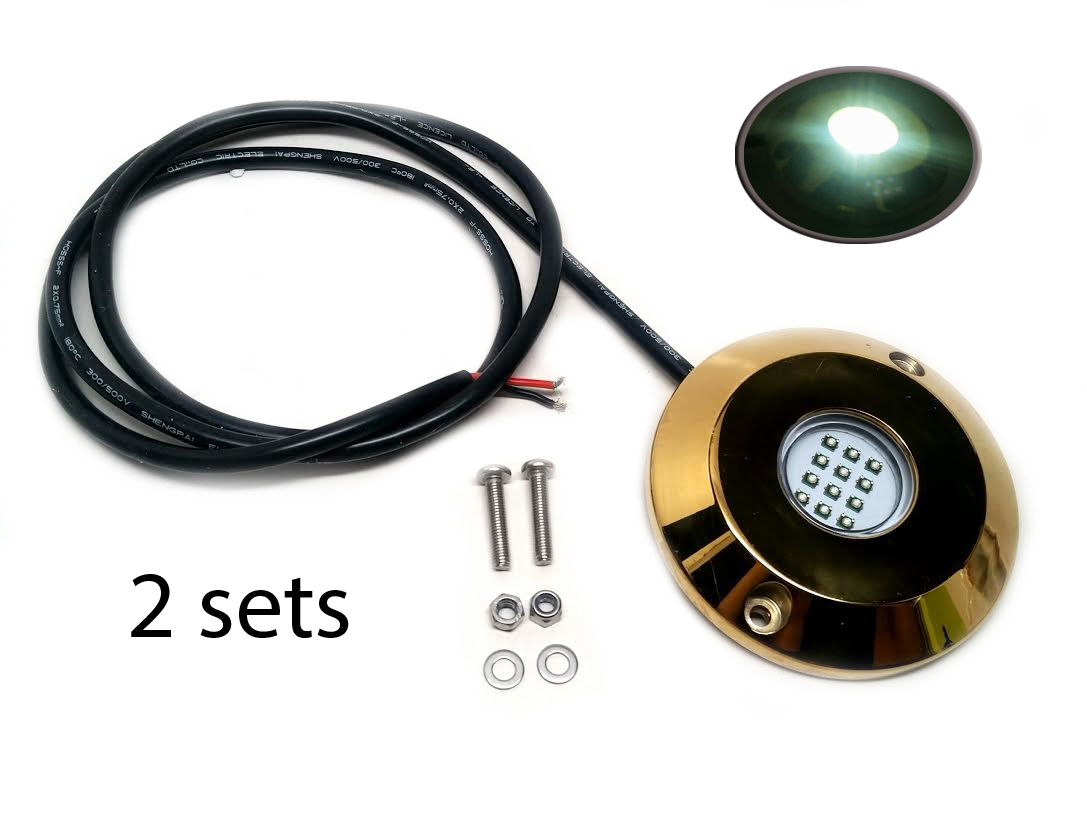 2SETS Underwater White LED Light Golden Housing Surface Mount