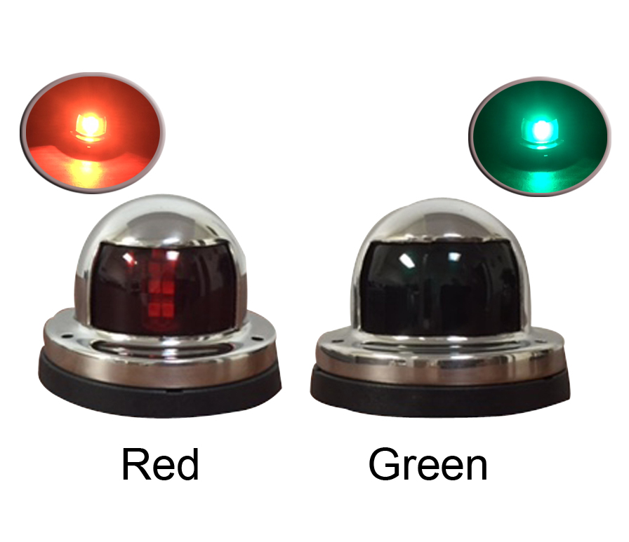 Pair of Red Green Stainless Steel LED Navigation Bow Lights
