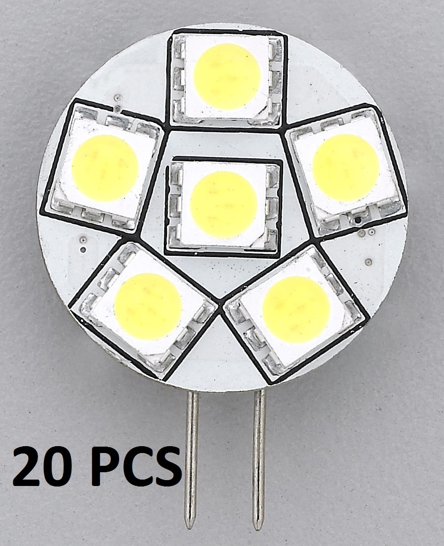 20pcs REPLACEMENT LED BULB G4 WARM WHITE SIDE PIN