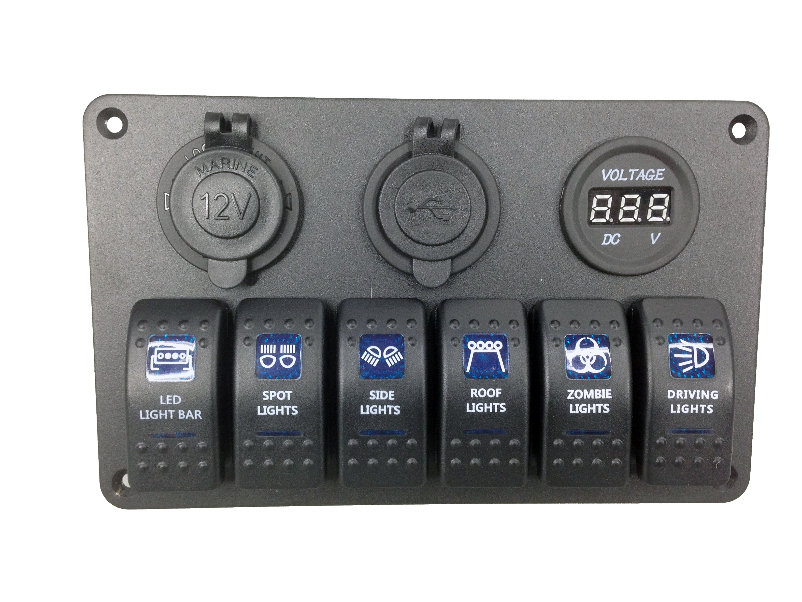 6 Gang Blue LED Switch Panel USB Charger Voltmeter Power