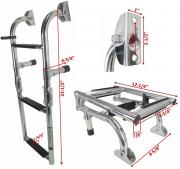 "THREE STEPS BOAT FOLDABLE LADDER STAINLESS STEEL LUXURY 23.5""LONG"
