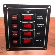 Marine Boat Black Aluminum Switch Panel IP65 12V Illuminated Swi