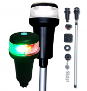 Pactrade Marine LED Bicolor White Navigation Light Cleatport Telescopic 3 Mounts