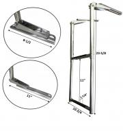 MARINE BOAT STAINLESS STEEL 2 STEP TELESCOPIC FOLDING LADDER & SLIDING UNDER PLATFORM