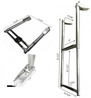 MARINE BOAT STAINLESS STEEL 2 STEP TELESCOPIC LADDER SWIM STEP OVER PLATFORM
