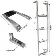 MARINE BOAT STAINLESS STEEL 4 STEP TELESCOPIC LADDER SWIM STEP O