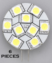 "6PCS REPLACEMENT LED BULB G4 WARM WHITE SIDE PIN 1.1""DIA"