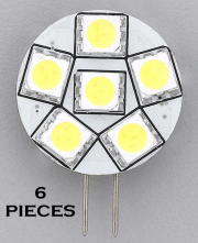 6pcs REPLACEMENT LED BULB G4 WARM WHITE SIDE PIN