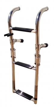 "THREE STEPS BOAT FOLDABLE LADDER STAINLESS STEEL LUXURY 23.5""LON"