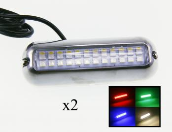 2PCS Pontoon Boat Red/Green/Blue/White LED Underwater Light