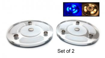"4"" 2PCS Blue White LED Courtesy Light Mirror Touch Switch"