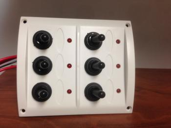 MARINE BOAT 6 GANG SPLASHPROOF SWITCH WITH LIGHT PANEL