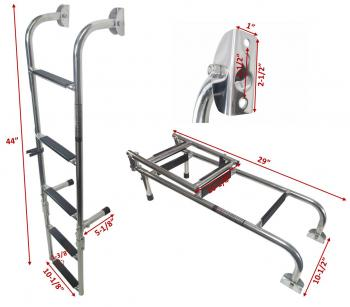 MARINE BOAT FOLDABLE STAINLESS STEEL 5 STEPS LADDERS W RUBBER GR