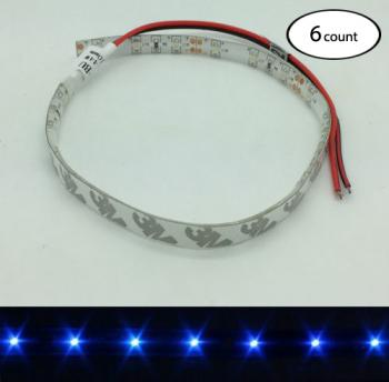 6 PCS 12V DC BLUE LED STRIP LIGHT ADHESIVE 3M BACKING