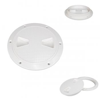 actrade Marine RV Heavy Duty White Plastic 6'' Twist-N-Lock Waterproof Deck Plate Inspection Hatch Circle Center