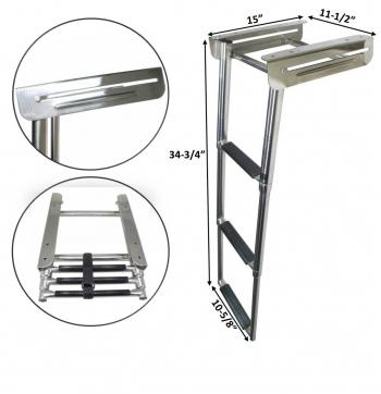 RV MARINE BOAT STAINLESS STEEL THREE STEPS UNDER PLATFORM TELESCOPIC LADDER