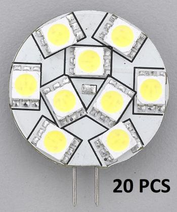 "20 PCS REPLACEMENT LED BULB G4 WARM WHITE SIDE PIN 1.1""DIA"